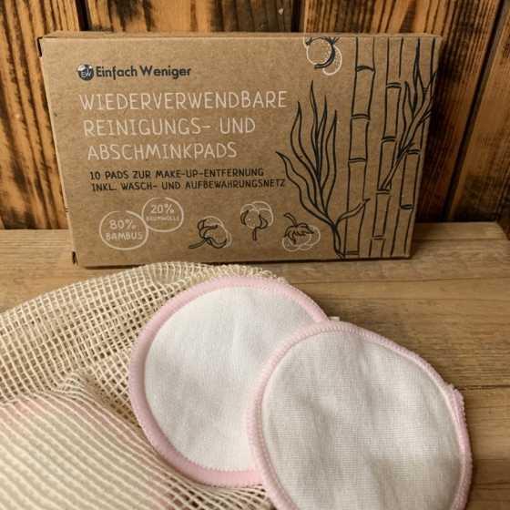 Disques de démaquillage réutilisables en bambou, naturel, cosmétiques, zéro déchets, fribourg, suisse, artisanal