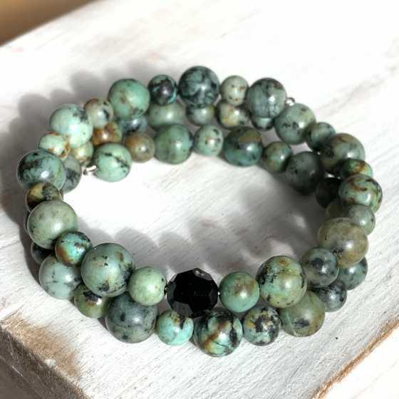 Bracelet double Turquoise Africaine