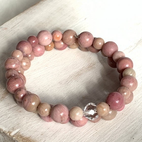 Bracelet double Rhodonite rose
