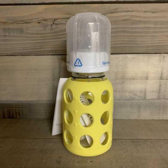 Biberon verre 120 ml avec housse en silicone - Banana- Lifefactory