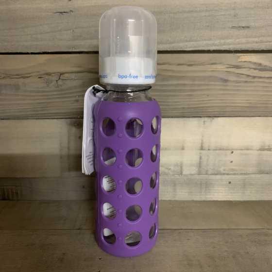Biberon verre 250 ml avec housse en silicone - Grape - Lifefactory
