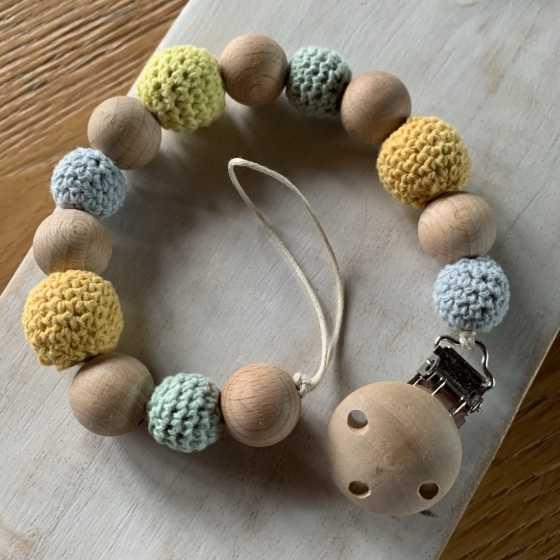 Attache-tétine en bois, naturel, maternage, bébé, Boutique, Fribourg, Suisse