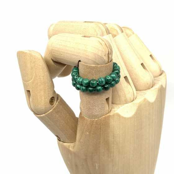 Bague Malachite, creation artisanale, qualité suisse, pierre naturelle
