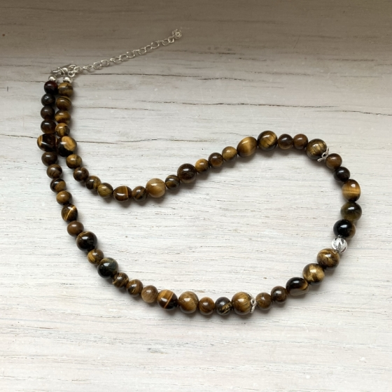 Tigerauge Halskette, handgefertigte Kreation, Schweizer Qualität, Naturstein