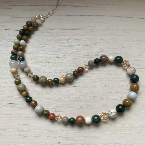 Ozean Jaspis Halskette, handgefertigte Kreation, Schweizer Qualität, Naturstein