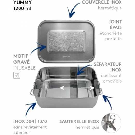 LunchBox Yummy Vagues 1200 m - GaspaJOE, boite repas, zéro déchets, Fribourg, boutique, suisse