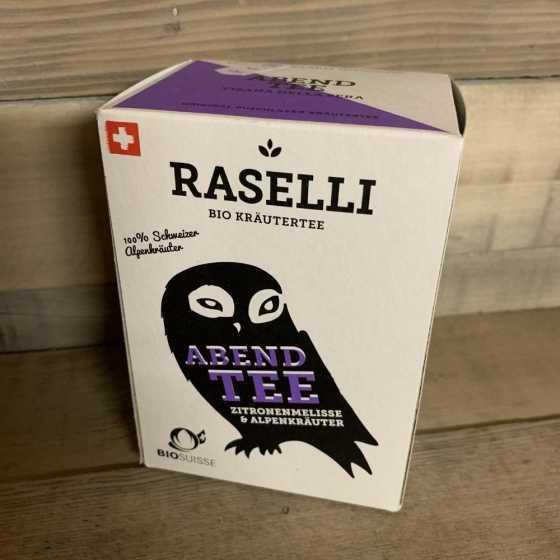 Raselli Thé soir BIO, Tisane calmante pour le soir, de culture biologique, avec mélisse citronelle et herbes des alpes.