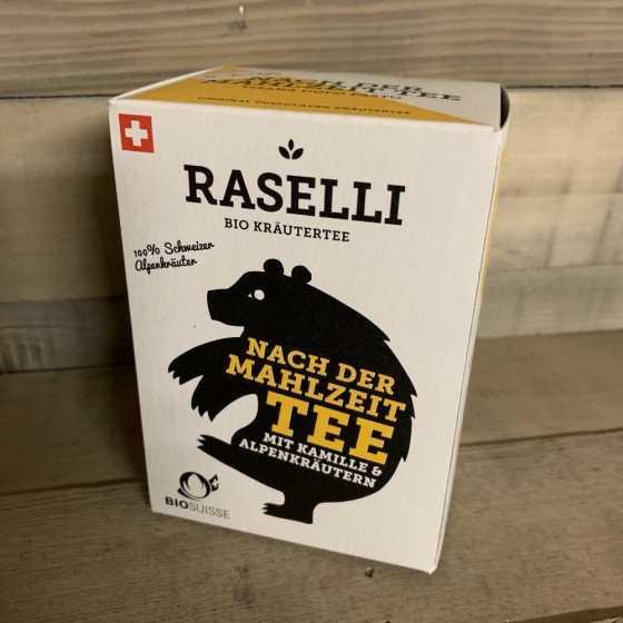 Raselli Thé après repas BIO, Tisane apaisante après repas, de culture biologique, avec camomille et herbes des alpes.