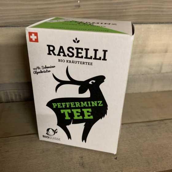 Raselli thé à la menthe BIO, Tisane rafraîchissante à la menthe poivrée de culture biologique.