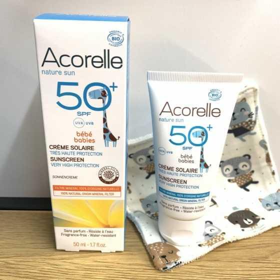 Crème solaire Bébé SPF 50+ – 50ml- Acorelle  Non nanoparticulaire, Sans filtre chimique, Sans zinc, Non ecotoxique