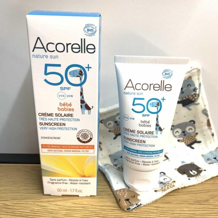 Baby-Sonnenschutz SPF 50+ - 50ml- Acorelle Nicht nanopartikulär, kein chemischer Filter, zinkfrei, nicht ökotoxisch