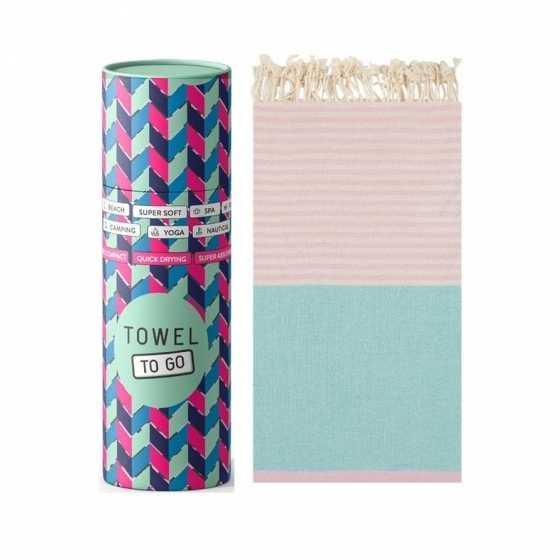 Towel To Go Serviette de Hammam Palermo Mint/Pink