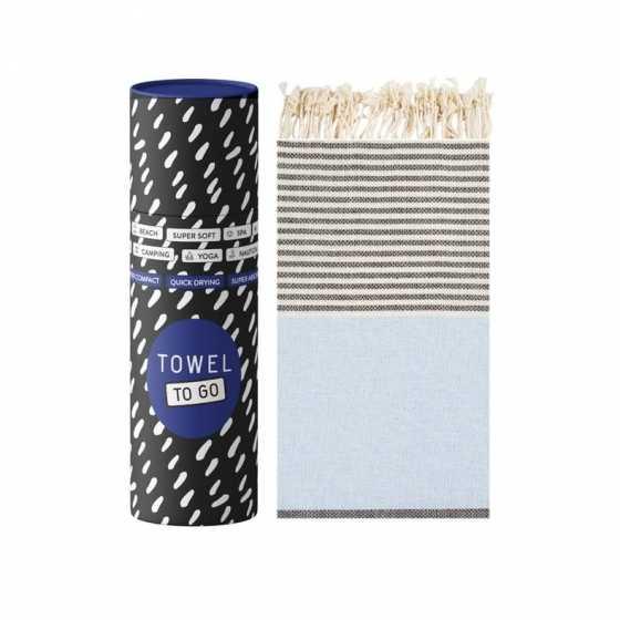 Towel To Go Palermo Hammamtuch Blau/Schwarz