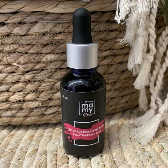 Mamyslow Élixir peau terne ou mature, produit vegan, bio artisanal suisse pour bébé