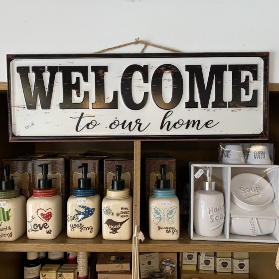 """Grosse Metallplatte """"Welcome to our Home"""""""