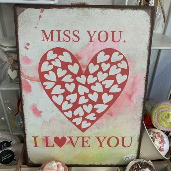 """Panneau en métal """"Miss you"""""""