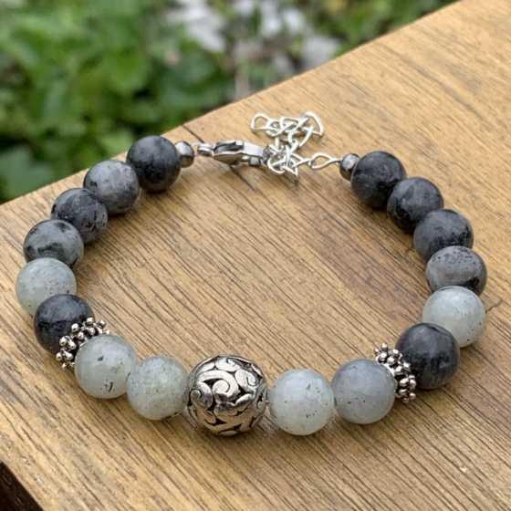 Bracelet de protection en perles de Labradorite et Larvikite naturelles.