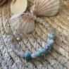 Bracelet artisanal en veritables perles de Larimar de République Dominicaine et Pierre de Lune.