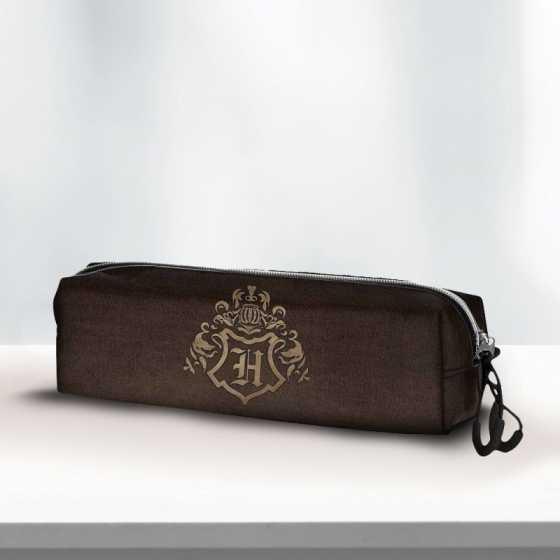 Trousse Harry Potter Blason Poudlard Marron et Bronze