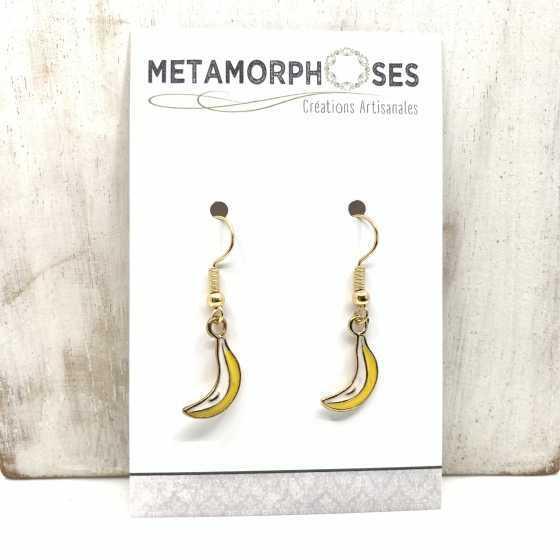 Boucles d'oreilles en métal Banane