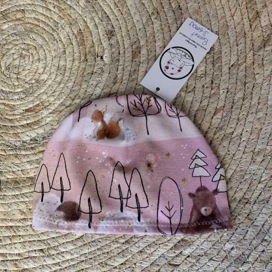 Bonnet fin bébé, Guépards en coton jersey Bio, 2-6 mois, couture création artisanale, cadeaux naissance, suisse