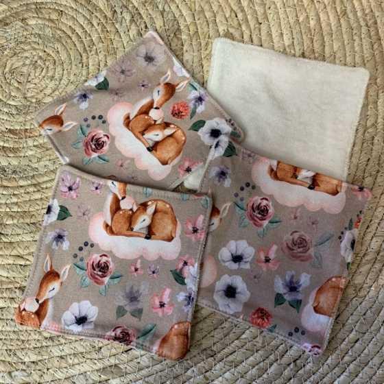 Lingettes lavables bébé Faon