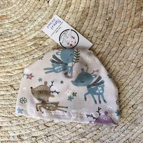 Baby-Hut, Geparde aus Bio-Jersey-Baumwolle, 2-6 Monate, handgemachte Nähkreation, Geburtsgeschenk, Schweiz
