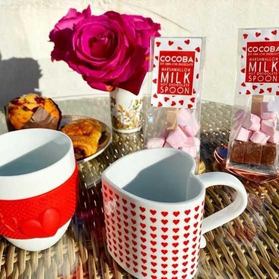Milk Hot Chocolate Spoon with Heart Marshmallows