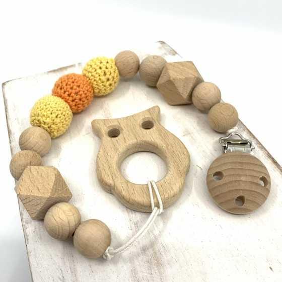 Attache-tétine en bois de hêtre naturel