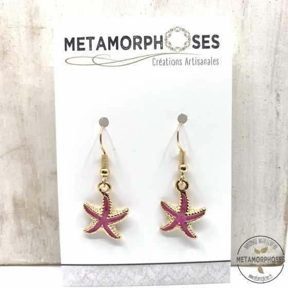 Boucles d'oreilles étoile de mer pink