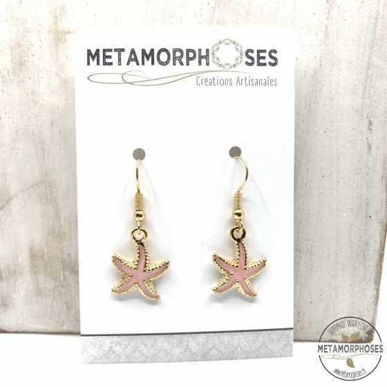 Boucles d'oreilles étoile de mer gris