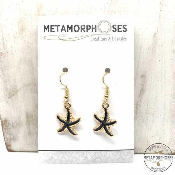 Boucles d'oreilles étoile de mer noir