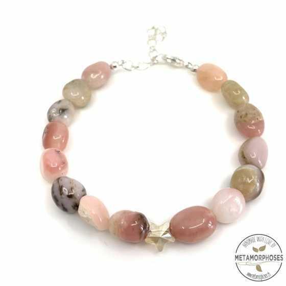 Bracelet Opale rose et Swarovski