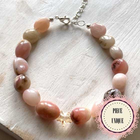 Bracelet Opale rose et...