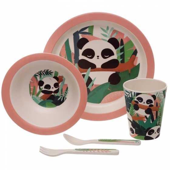 Ensemble Vaisselle Plats & Couverts Réutilisables Bambootique Pandarama - Panda