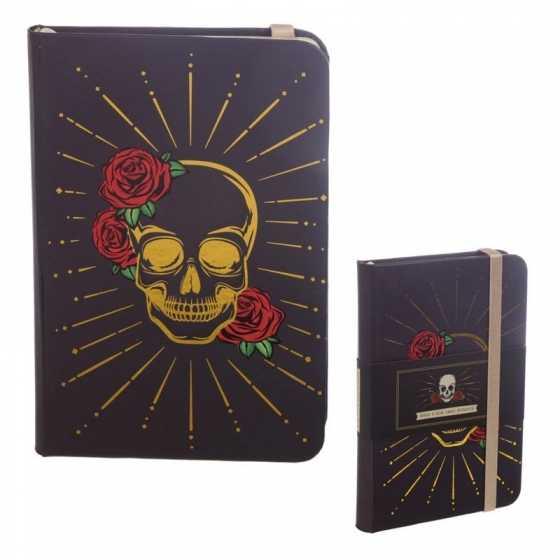 Bloc-note à Elastique Couverture Rigide Crâne Doré Noir & Roses
