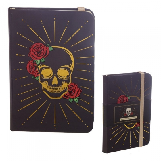 Gold und Schwarz Totenkopf Notizbuch Liniert Hardcover