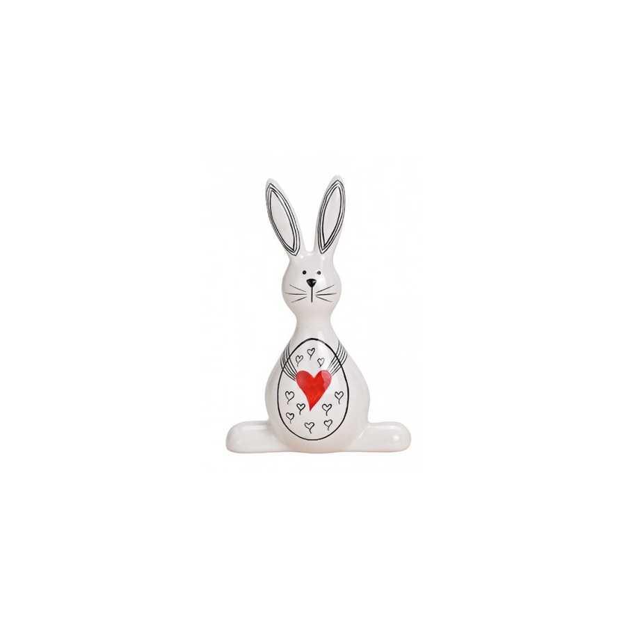 Hase aus Keramik Weiß/Rot/Schwarz