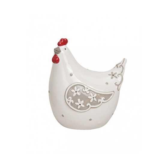 """Grosses Keramik-Huhn """"Weiss"""""""