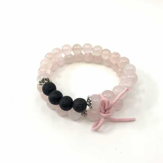 Lot de deux bracelets en Quartz Rose