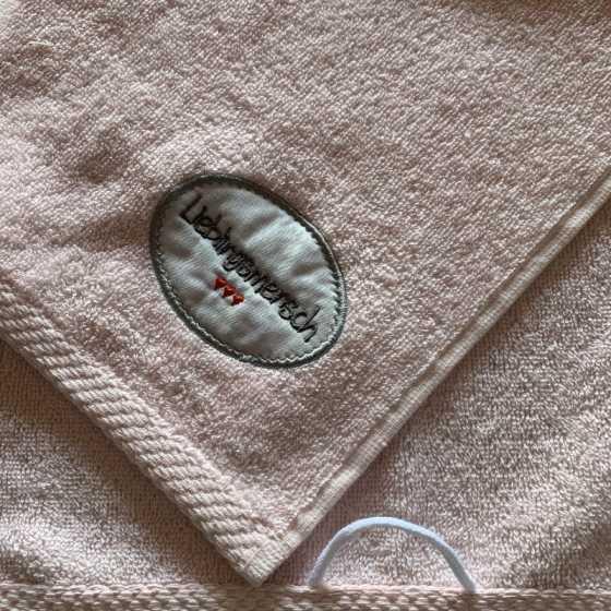 """Handtuch """"Liebligsmensch"""" rosa"""