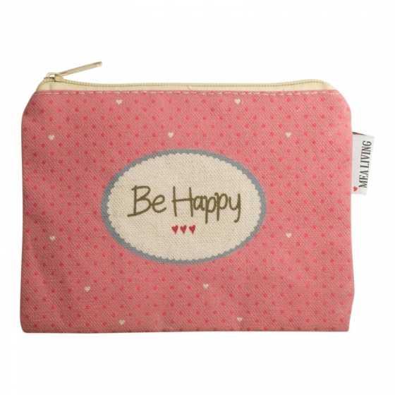 """Kleine Kosmetiktasche """"Be happy"""" rosa"""