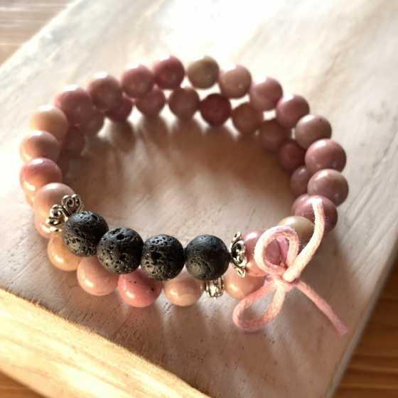 Lot de deux bracelets en Rhodonite