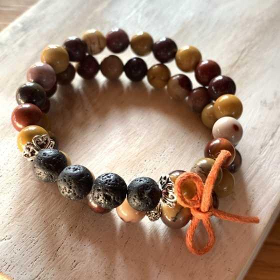 Lot de deux bracelets en Mokaite