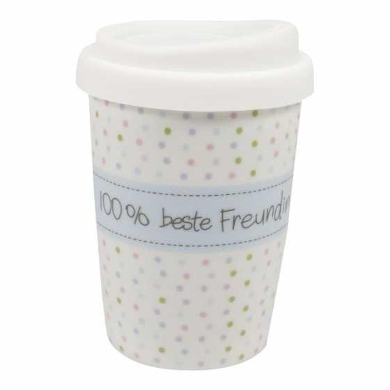 """Becher coffee to go Porzellan """"100% beste Freundin"""""""