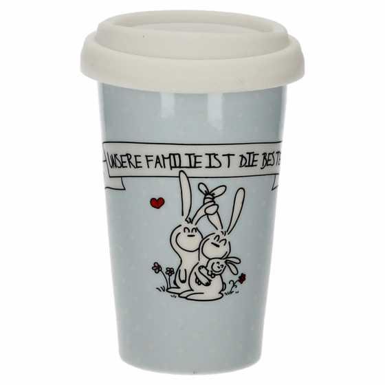 """Becher coffee to go Porzellan """"Unsere Familie"""""""