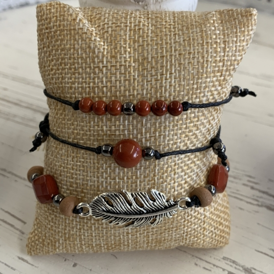 Bracelets en perles de Jaspe rouge noeud coulissant