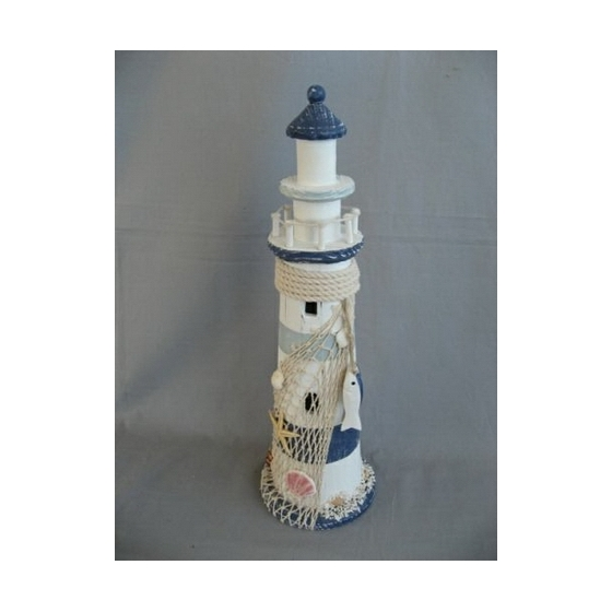 Grand phare en bois décoration, marin, maritime mer bleu blanc