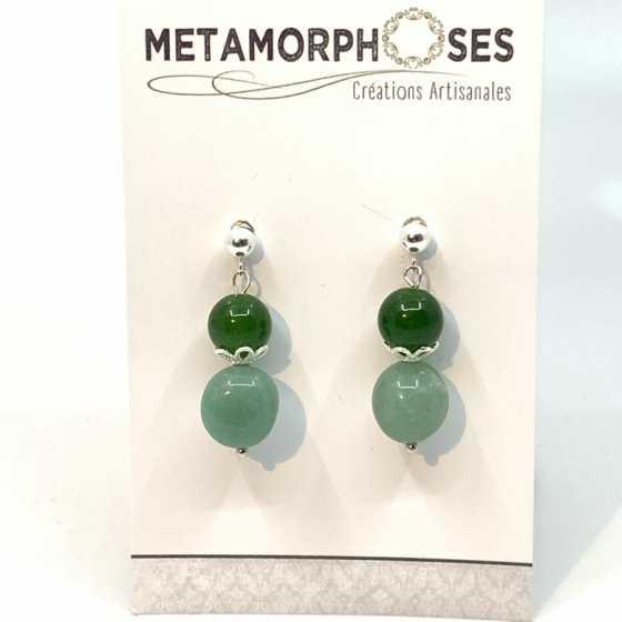Ohrringe aus Aventurin Jade und Silber