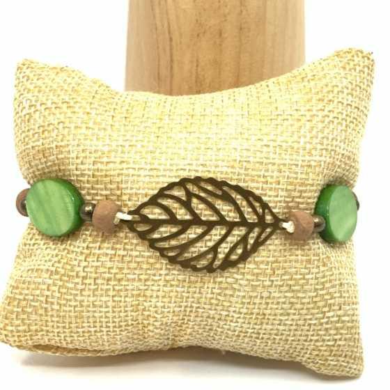 """Bracelet nacre vert """"Plume"""""""